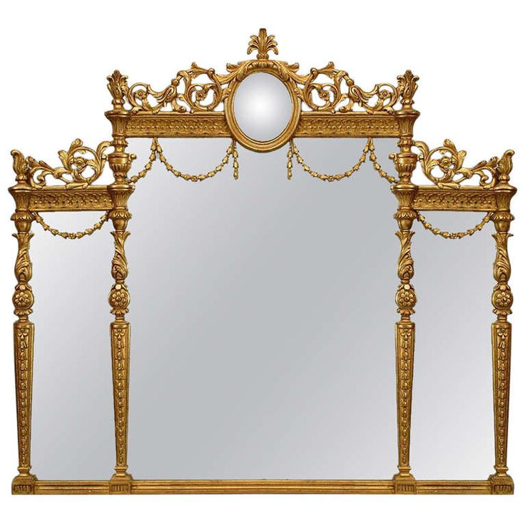English Adam Style Gilt Triptych Wall Mirror | From a unique collection of antique and modern wall mirrors at http://www.1stdibs.com/furniture/mirrors/wall-mirrors/