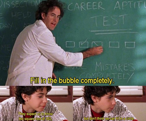 My thoughts exactly, Gordo. Every time we take a test.