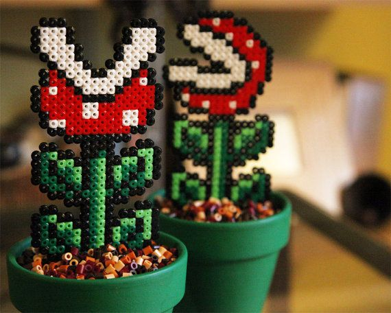Super Mario Inspired Tiny Potted Piranha Plant. Two door BeadxBead