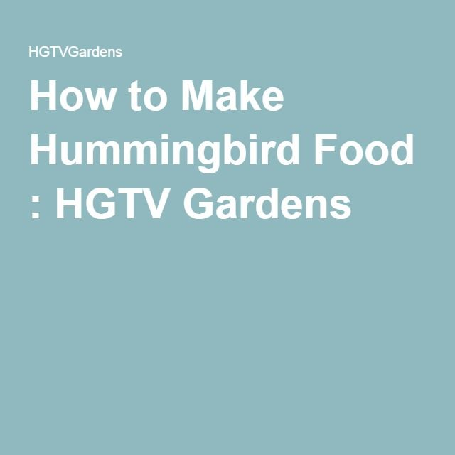 How to Make Hummingbird Food : HGTV Gardens