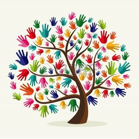 Diversity multi-ethnic hand tree illustration over stripe pattern background.  file layered for easy manipulation and custom coloring. Stock Vector www.123rf.com