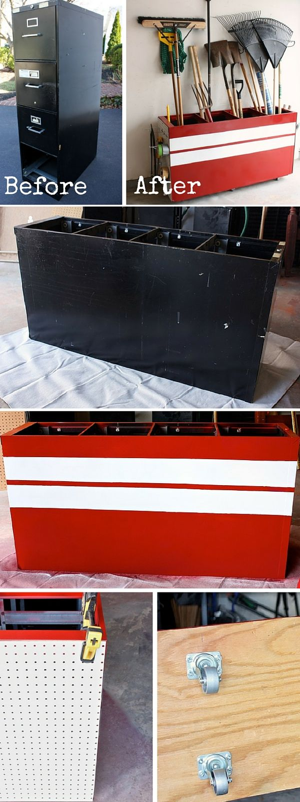 Check out the tutorial: #DIY Turn an Old Filing Cabinet into a Garage Storage Unit #crafts