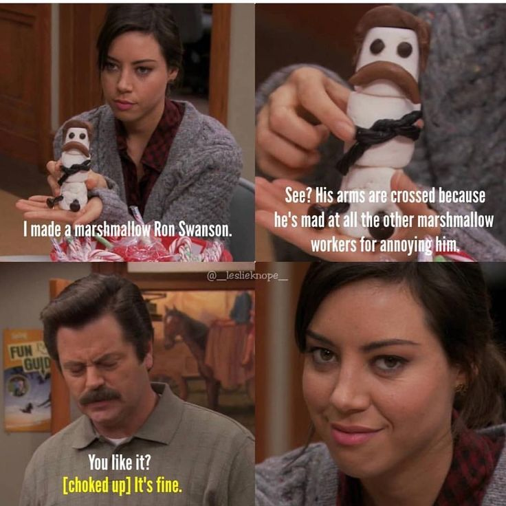Ron Swanson the Marshmallow   Parks and rec memes, Parks ...