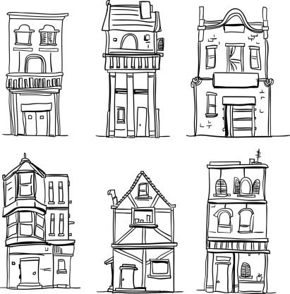 Different types of houses in black and white