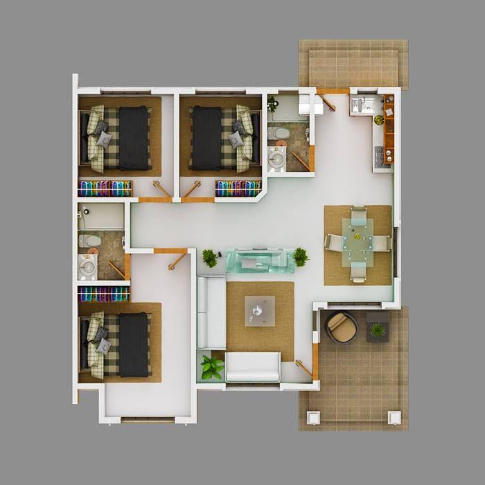 Modern Bungalow House With 3d Floor Plans And Firewall Pinoy House Designs Pinoy House Designs Rumah Arsitektur Denah Rumah Desain Rumah Modern