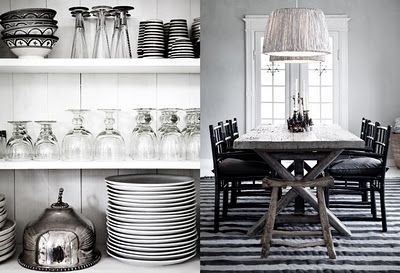 black and white dishes: Dining Rooms, Dining Area, Open Shelves, Decor Ideas, Black And White, Kitchens Ideas, Dining Spaces, White Dishes, White Kitchens