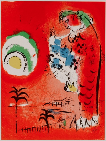 """Lithograph by Marc Chagall (1887-1985), 1960, """"The Bay of Angels"""", printed at the studio of Mourlot, Paris . Issued for the album: Chagall Lithographs Vol.1."""