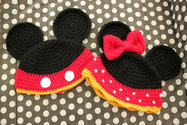 Mickie and Minnie hats  Free Pattern