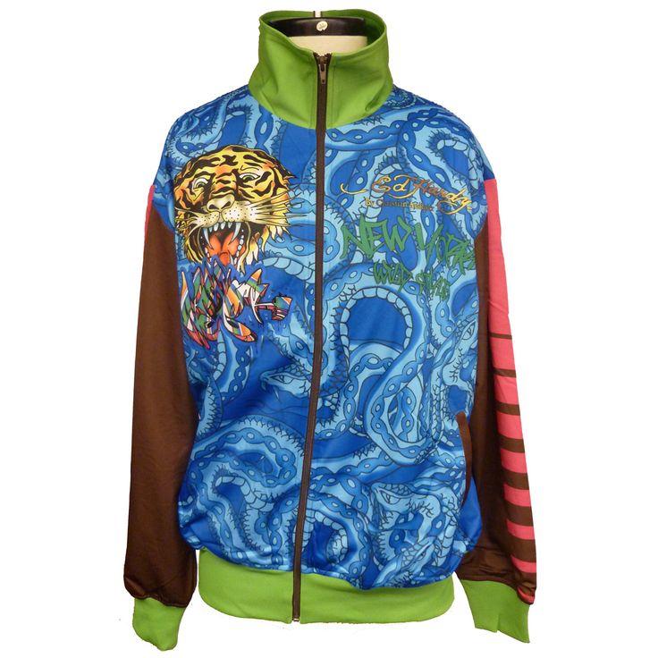 Ed Hardy Mens Graffiti Track Jacket-Blue