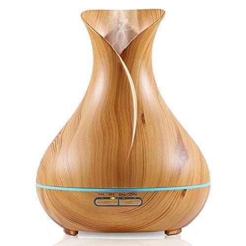 NexGadget 400ml BPA Free Ultrasonic Wood Grain Aromatherapy Essential Oil Diffuser