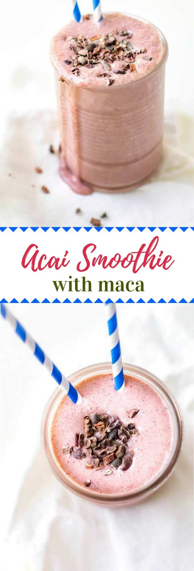 This Acai Smoothie Recipe is a delicious healthy drink that will boost for energy, support your immune system and help with detox.  Made with acai powder, this vegan smoothie is loaded with superfoods. via @wendypolisi