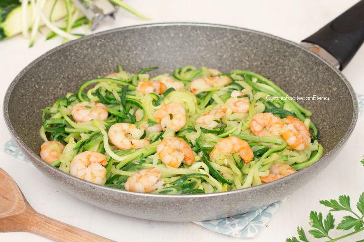 spaghetti di zucchine e gamberetti