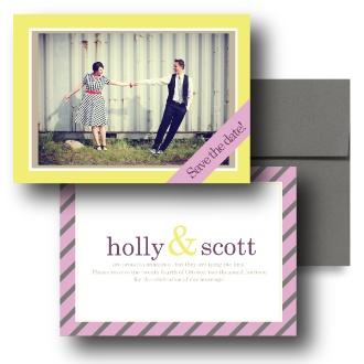 Yellow Invitations, Pink Wedding Invitations, Striped Invitations