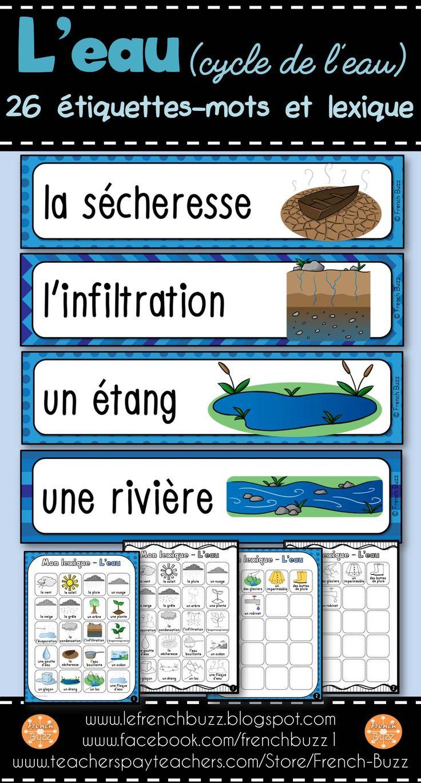 L'eau - le cycle de l'eau - 26 mots de vocabulaire pour le mur de mots et 2 pages de lexique (en couleur et en noir et blanc).