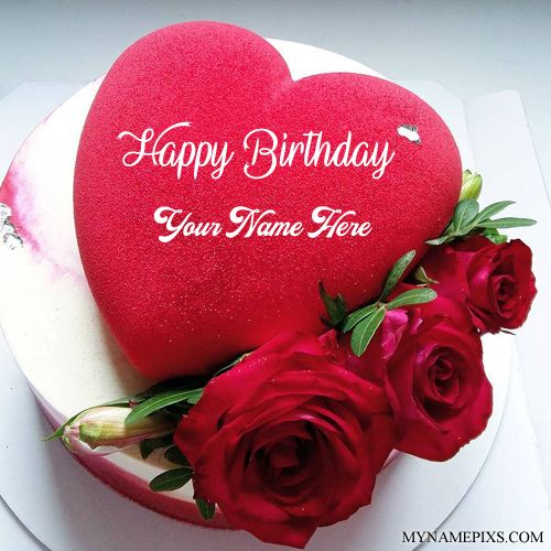 Beautiful Red Heart Name Birthday Cake With Red Roses Love In 2019