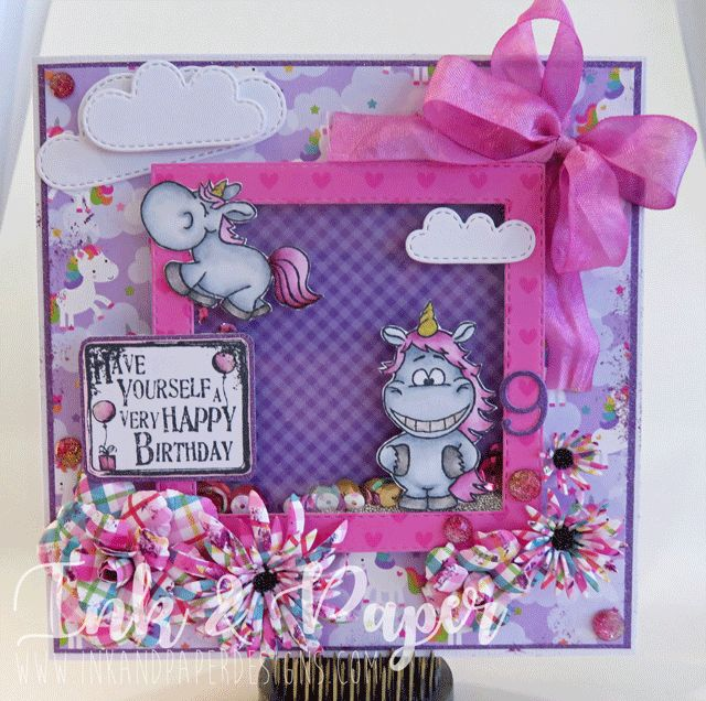 9th Birthday Unicorn Card. So much fun using Gerda Steiner Moody Unicorns and Doodlebug Papers