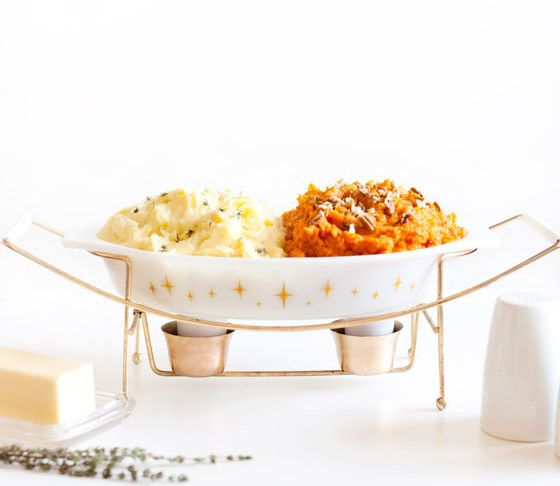 Goat cheese mashed potatoes and mashed sweet potatoes with pecans