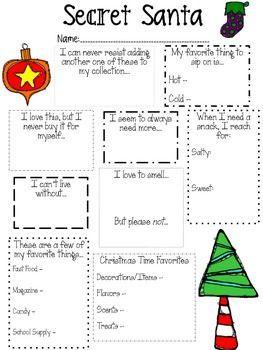 Secret Santa Questionnaire for Teachers
