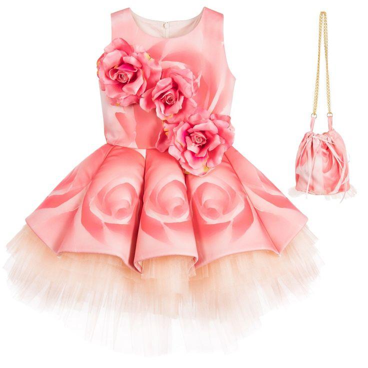 Junona - Girls Pink Rose Appliqué Dress & Handbag | Childrensalon