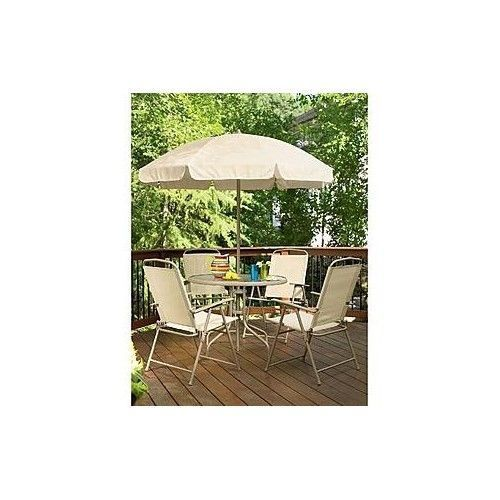 Patio Set  Folding Chairs Umbrella Oudoor Round Glass Table  Dining New