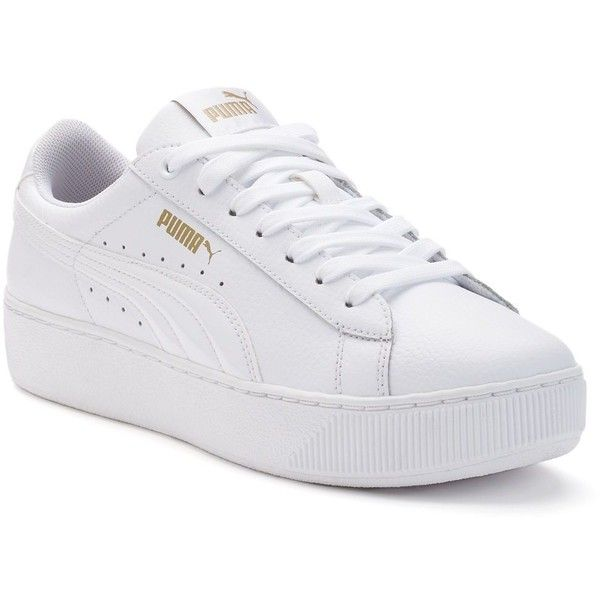 PUMA Vikky Platform Womens Leather Shoes ($68) ❤ liked on Polyvore featuring shoes, white, perforated shoes, platform shoes, laced shoes, white leather shoes and leather shoes