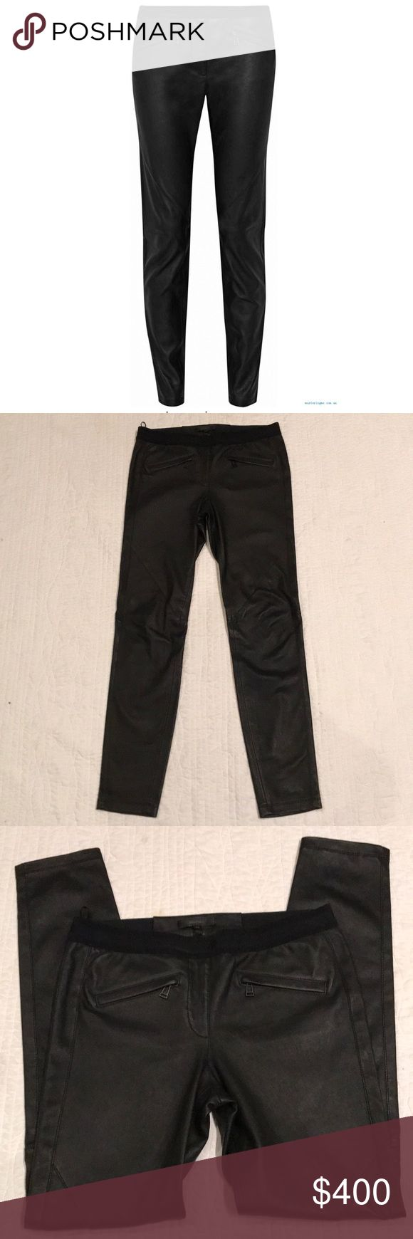 "Belstaff Barlow Leather skinny pants leggings Belstaff Barlow leather skinny pants, black (stock photo in red to show fit) size 42 which is equivalent to a size 8 (Italian sizing) only worn once, snug sleek fit, waist is about 14"" lying flat, hips are about 16.75"" lying flat, 29.5"" inseam and 9"" rise Belstaff Pants Leggings"