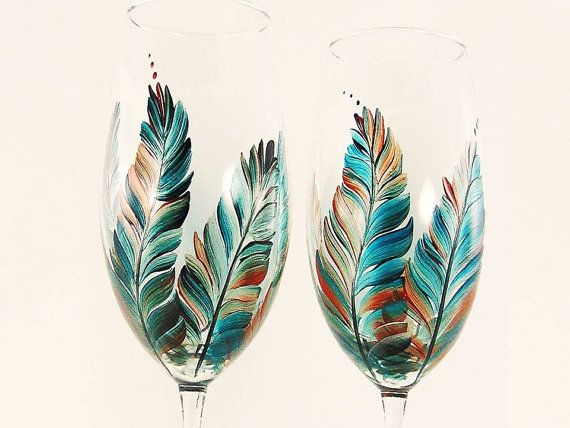 Set of 4 hand painted Champagne flutes in Southwestern shades of clear deep turquoise, silver, copper and rust. Small dots of color accent the