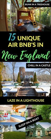 New England has so many incredible AirBnb properties! Want to stay in a treehouse, tiny house, or even a castle? From the romantic to the quirky, New England vacation rentals don't get much better than these.   Vacation rentals Vermont New Hampshire Massa
