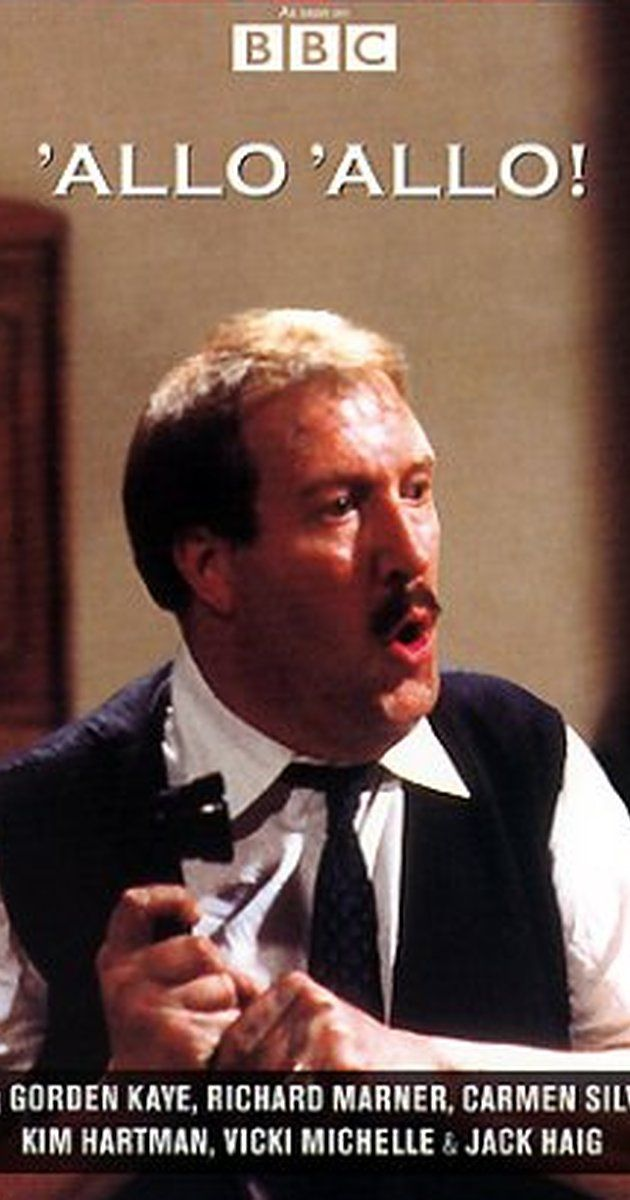 Created by David Croft, Jeremy Lloyd.  With Gorden Kaye, Carmen Silvera, Vicki Michelle, Richard Marner. In WW2 France, Rene Artois runs a small café where Resistance fighters, Gestapo men, German Army officers and escaped Allied POWs interact daily, ignorant of one another's true identity or presence, exasperating Rene.