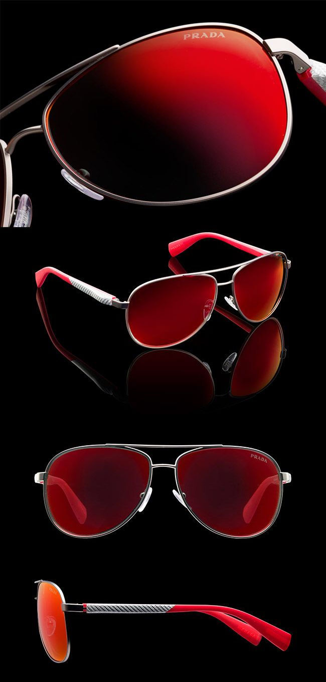 Prada | Sunglasses | 2014 | SPORTY OPAQUE STEEL AVIATOR FRAMES WITH RED NETEX AND ALUMINUM TEMPLES | LINEA ROSSA LOGO | SPS51O_E5AS_F06Y1 | PRICE €290