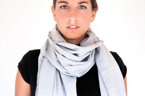Large Wrap Scarf  oversized shawl in light grey by clothbotshop