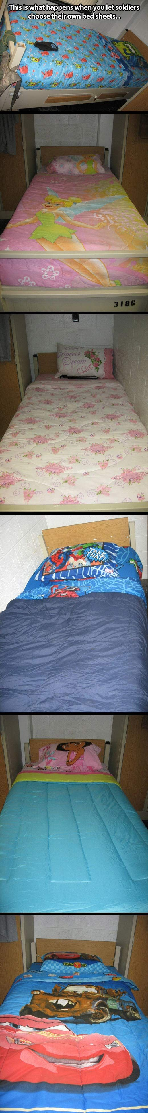 "When soldiers choose their own bed sheets…""People keep pinning this onto their funny board but what if this is because it reminds them of their kids back at home that they can't tuck into bed at night? Great I just made myself sad"" -Molly White (pinner)"