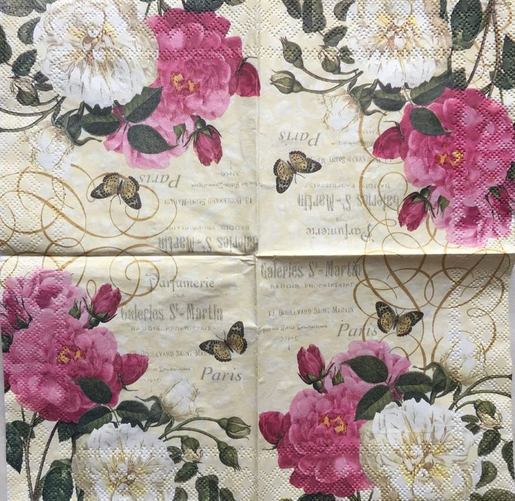 Paper Napkins - Ephemera for Decoupage, Scrapbooking, Card making  and Crafts - set of 4 by TRULYALLSUPPLIES on Etsy