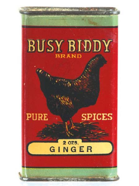 Busy Biddy Ginger Spice Tin | Antique Advertising with a Chicken