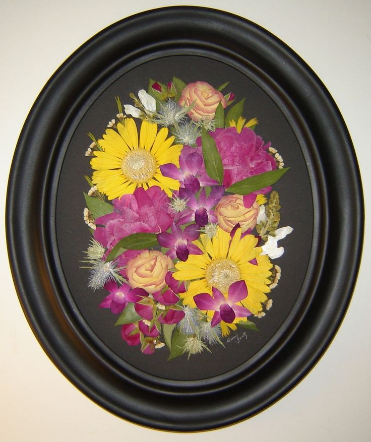 "Memorial Flowers, pressed and preserved in an 11x14"" oval frame. Pressed Garden, Annie Smith, www.pressedgarden.com"