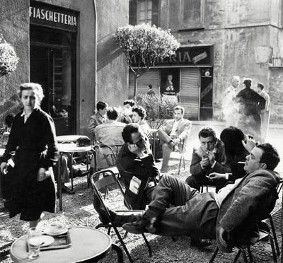 Having a chat, smoke and coffee. Italy 50's