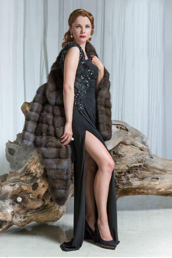 The fabulous Russian actresses Ekaterina Vulichenko wears a wonderful AVANTI sable jacket. The King of all Fur types! www.avantifurs.com