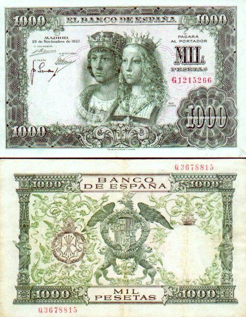 Spain 1000 Pesetas 29.11.1957