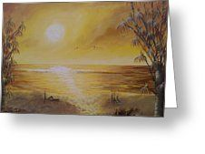 Golden Sunrise At Waipatiki Beach Greeting Card by Laura Wilson