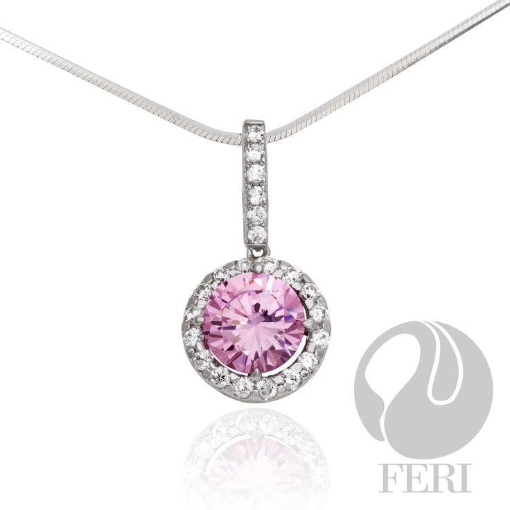 """Description   Reviews (0) - Exclusive FERI 950 Siledium silver - Exclusive dual natural rhodium and palladium plating - Set with exclusive FERI Swan cut lab stones - Colour: pink and white - Dimension: 0.47"""" width, 0.90"""" length  Invest with confidence in FERI Designer Lines."""