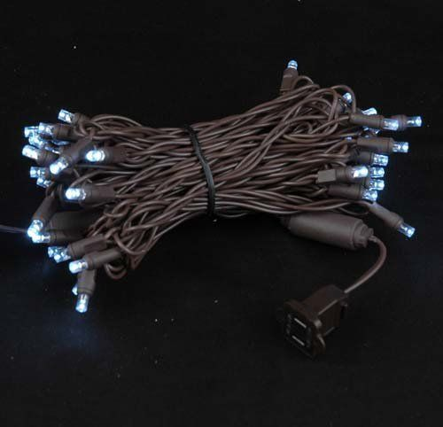 Novelty Lights, Inc. CGWA50 Commercial Grade LED Christmas Mini Light Set, Wide Angle Bulb (5MM), Pure White, Brown Wire, 50 Light, 25' Long by Novelty Lights. $16.95. Watts: 4.8 watts per string - Built in Rectifier, No Special Adapter Needed. Concave Design - Wide Viewing Angle - Energy Star Qualified. UL Listed Indoor/Outdoor - If a Bulb Burns Out the Rest Remain Lit. 50 Light Pure White Brown Wire LED Wide (5MM) Angle Christmas Light Set. Connect Up to 43 Set T...