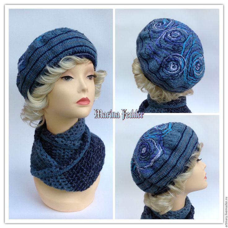 """Купить Берет и шарф-снуд. Комплект """"Рапсодия"""". - снуд, комплект вязаный, шарф…"""