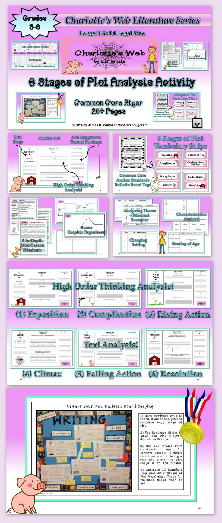 Charlotte s web 6 stages of plot activity comes in 8 5x14 format this