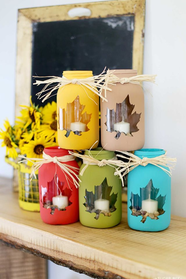 Use bright colors to create a cluster of jars, accented with candles and pebbles. Get the tutorial at Sugar Bee Crafts.