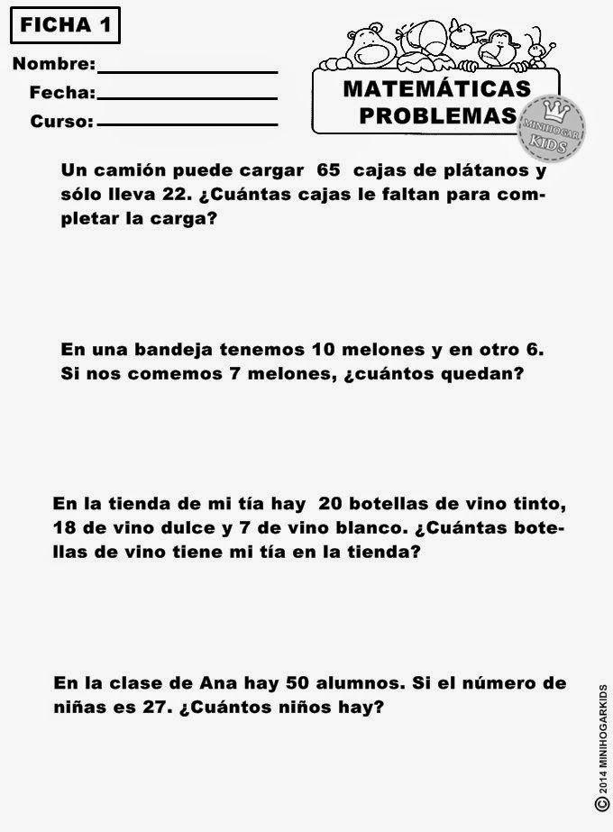 Minihogar Kids Fichas De Matematicas Problemas Matematicas 5 Primaria Matematicas Primero De Primaria