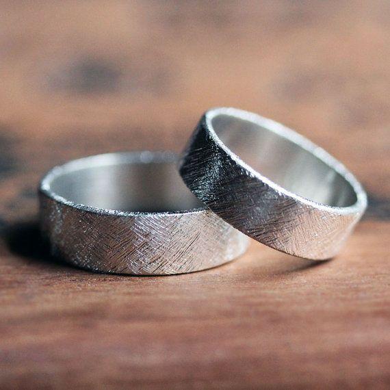 Modern wedding band set - textured - recycled silver wedding rings - unisex - rustic - handmade rings - custom size