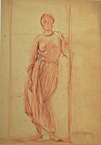 ÜTZNER SAMUEL ( 1884-1959 ) Tânără în cadrul ușii / Young Woman in Doorway