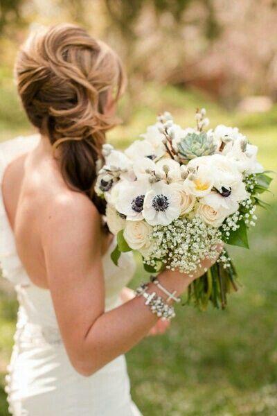 "Lovely Bridal Bouquet Showcasing White Anemones, White Ranunculus, White Tulips, Green Succulent, Pussy Willow, Cream ""Vintage"" Sahara Roses, White Gypsophila, & Mixed Green Foliage·····"