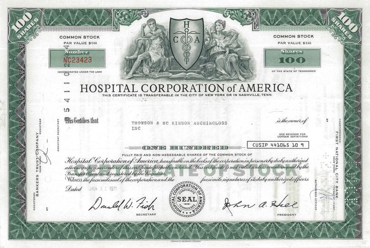 HOSPITAL CORPORATION OF AMERICA - #scripomarket #scriposigns #scripofilia #scripophily #finanza #finance #collezionismo #collectibles #arte #art #scripoart #scripoarte #borsa #stock #azioni #bonds #obbligazioni