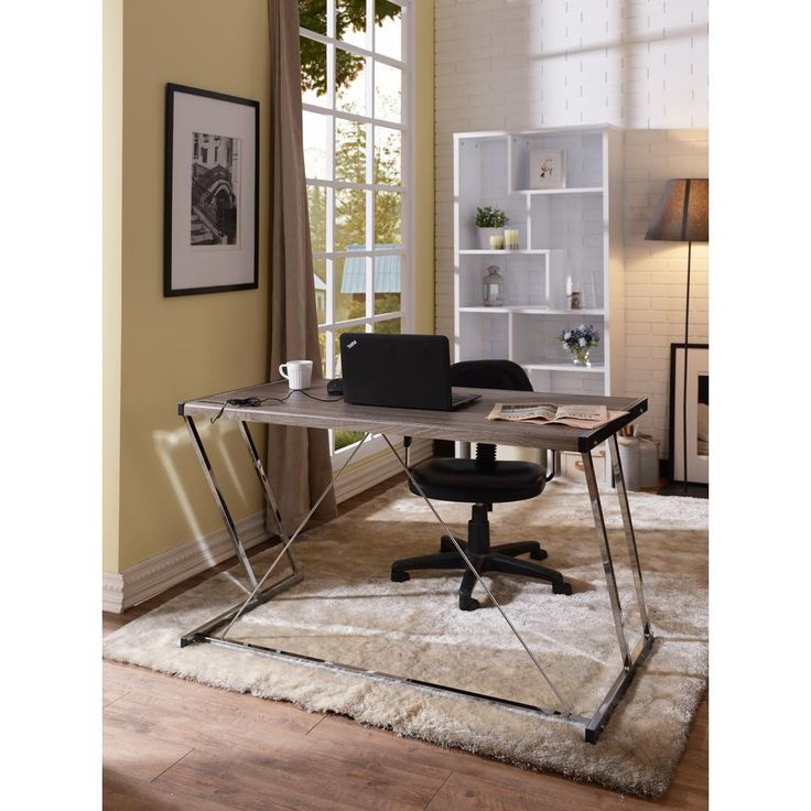 Finis Writing Desk with USB Dock in Weathered Oak and Chrome